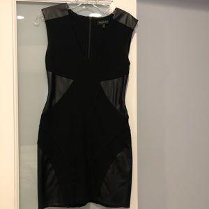 Aritzia Talula Black Dress Faux Leather Inserts